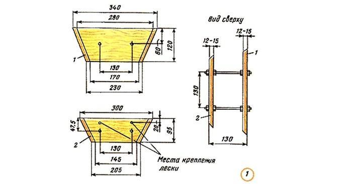 """Схема конструкции и размеров  """"кораблика"""""""